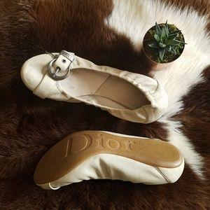 Dior Leather Buckle Key Ballet Flats Ivory Sz 39